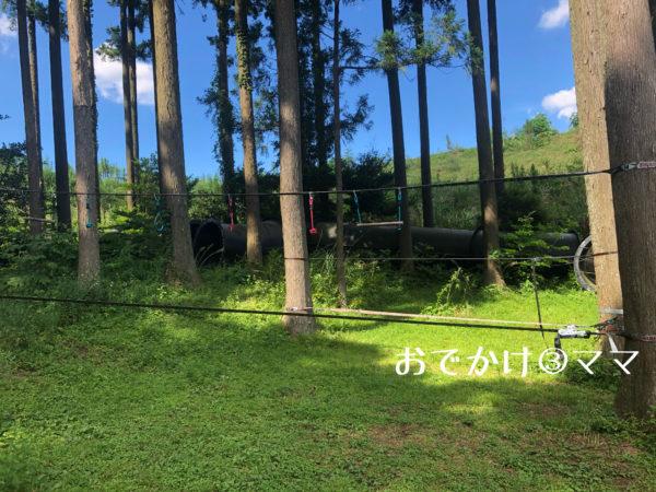 大野路ファミリーキャンプ場のチャレンジ広場のスラックライン