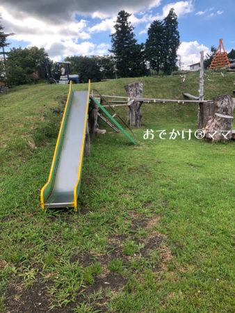 大野路ファミリーキャンプ場のチャレンジ広場の希望の丘のすべり台